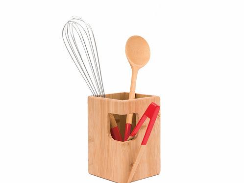 Suporte para utensílios de cozinha em bambu