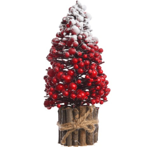 Árvore de Natal, com red berries e neve