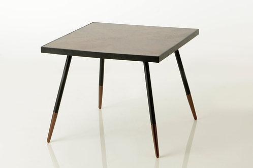 Mesa de apoio preta e madeira com 50x61x61 cm