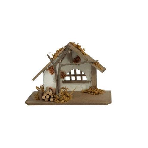 Cabana de Natal, com figuras de Natal