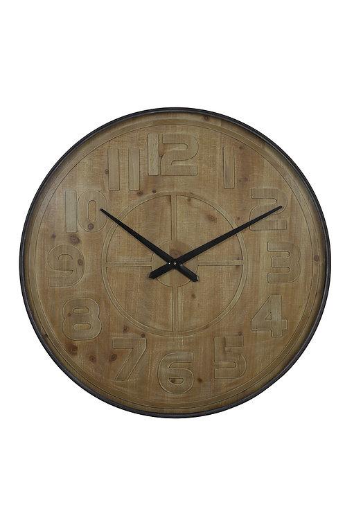 Relógio de parede em madeira e preto, com 80 cm de diâmetro