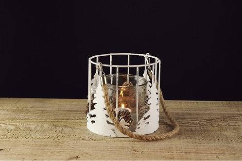 Lanterna metal / vidro, com árvore de Natal e pinhas