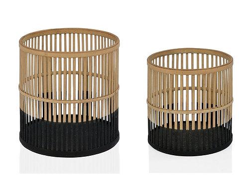 Cesto em bambu e preto M