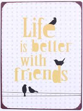 Placa metálica - Life is better with friends