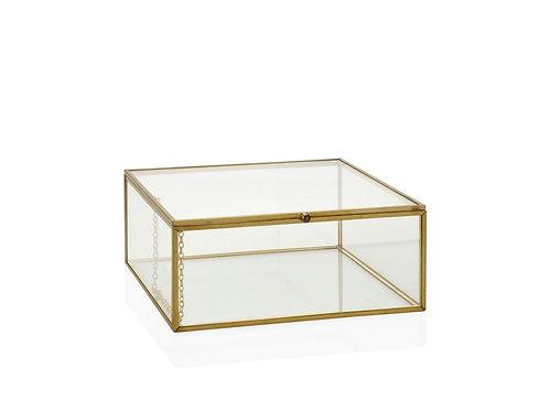 Caixa dourada e vidro com 15x15x7.5cm