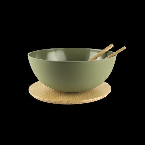 Saladeira com tampa de bambu e talheres