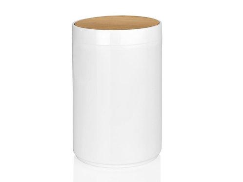 Papeleira branca e bambu
