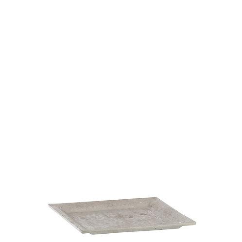 Prato quadrado prateado, com 20x20x2 cm