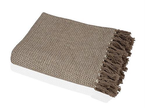 Manta em algodão creme e castanha com 125x150cm