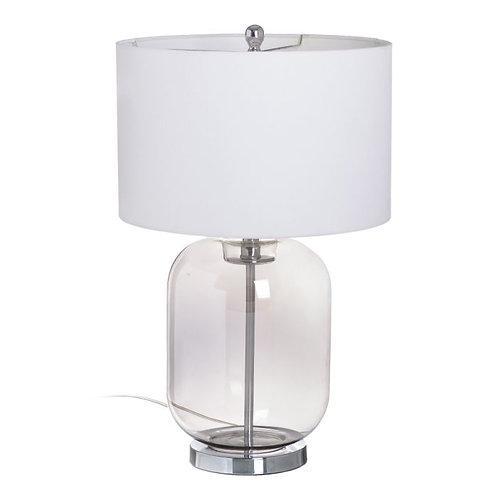 Candeeiro de vidro, com abat-jour branco, com 40x40x79cm