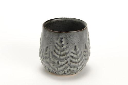 Vaso cinza com folhas S