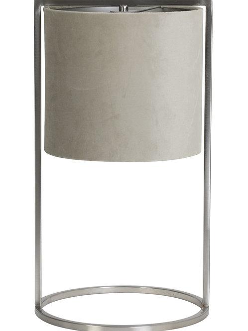 Candeeiro cromado com abat-jour cinza