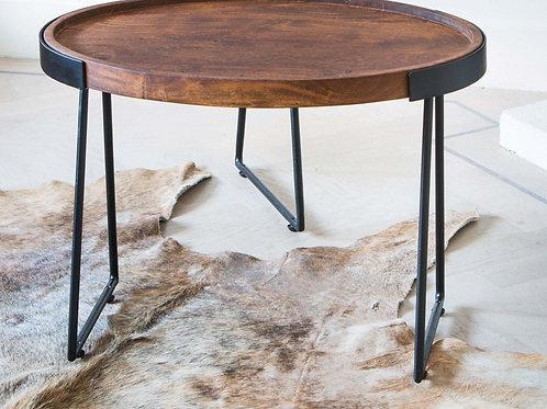 Mesa de apoio oval, em madeira e ferro