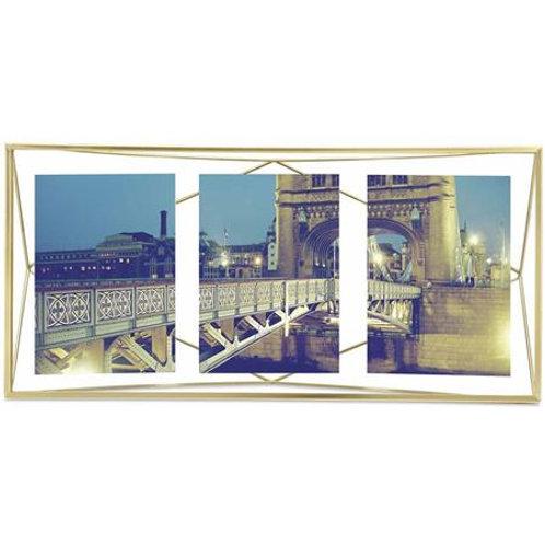 Moldura dourada para 3 fotos 10x15cm
