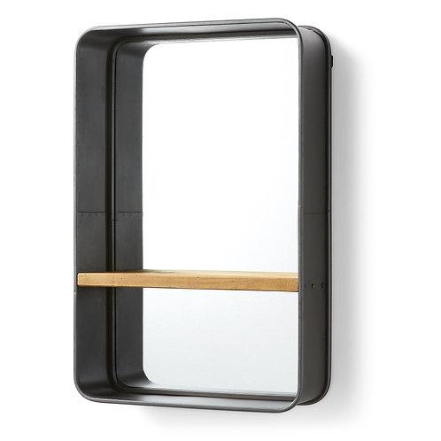 Espelho em metal e madeira