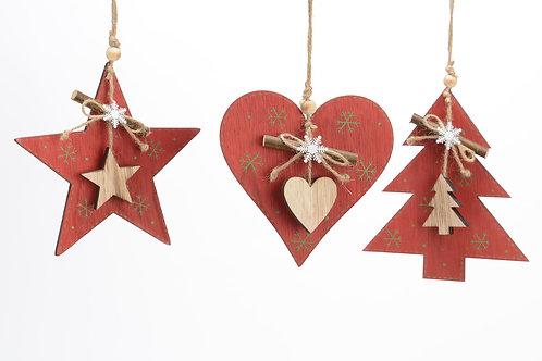 Surtido vermelho L estrela / coração / árvore