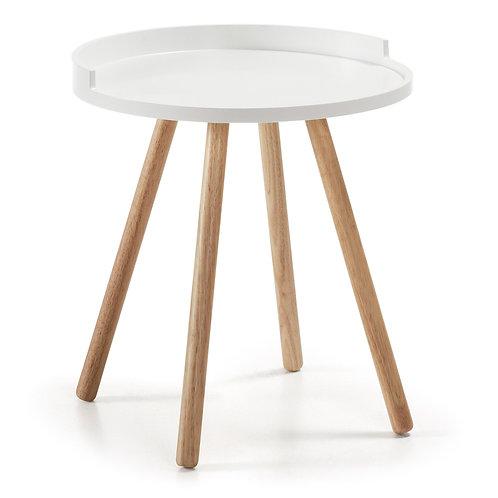 Mesa e apoio, em madeira e branco