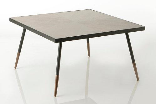 Mesa de apoio preta e madeira com 45x81x81 cm