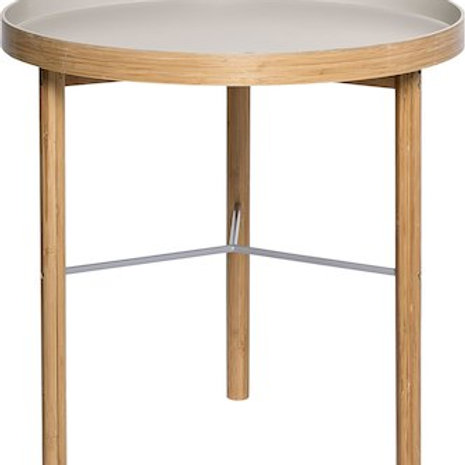 Mesa de apoio em madeira e lacada de cinza