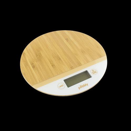 Balança para cozinha bambu e branco