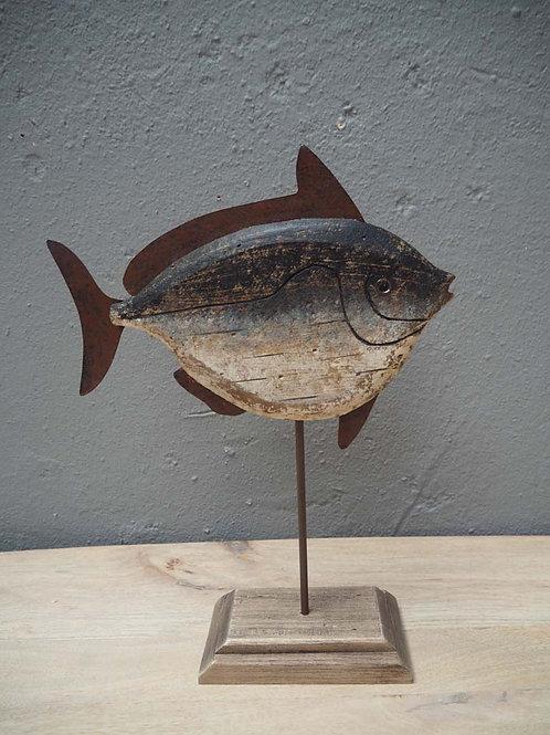 Estatueta peixe azul, em madeira e metal