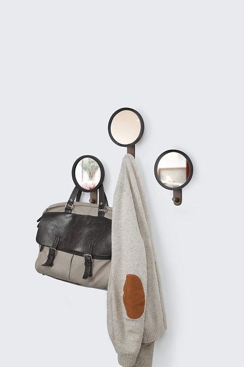 Espelho / cabide de parede preto redondo