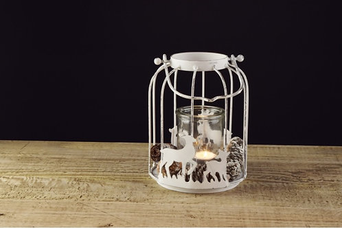 Lanterna metal / vidro, com renas e pinhas