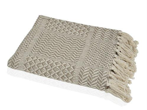 Manta em algodão bege com 125x150cm