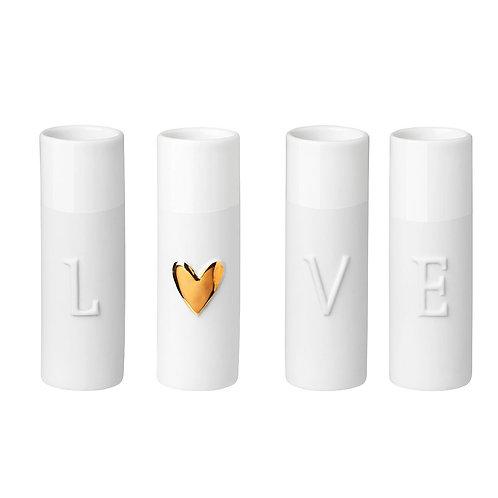 """Set 4 mini jarrinhas """"Love"""""""