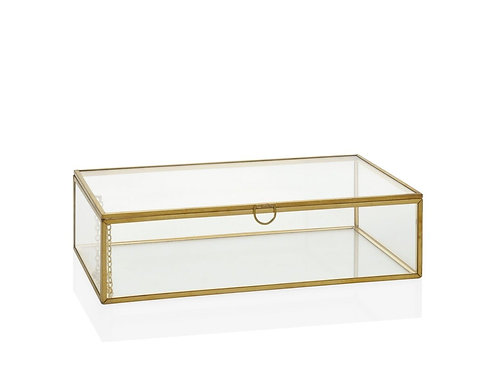 Caixa dourada e vidro com 21.5x13x5cm