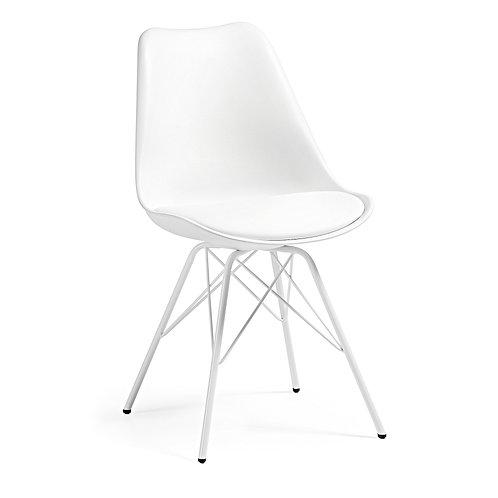 Cadeira metal branca, com estofo em ecopele branca