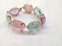 14k Amethyst, Rose Quartz and Aquamarine