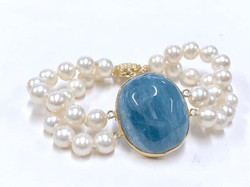 Bezeled Aquamarine & Pearl Bracelet