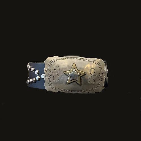 Cinturón Tachas Ovaladas Hebilla Estrella