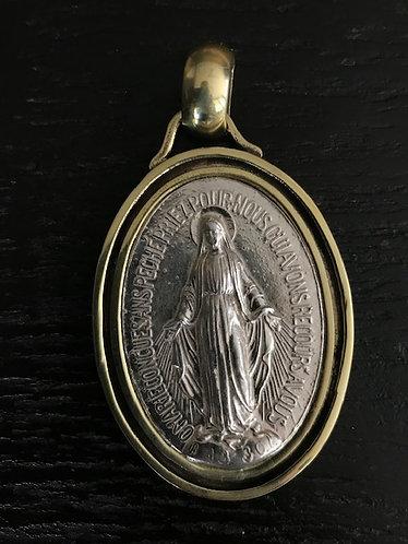 Virgen de los Rayos Silver borde Bronce