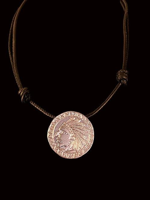 Collar Medalla Indio Baño de Oro