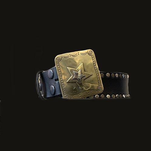 Cinturón Tachas  Laterales Hebilla Estrella Bronce