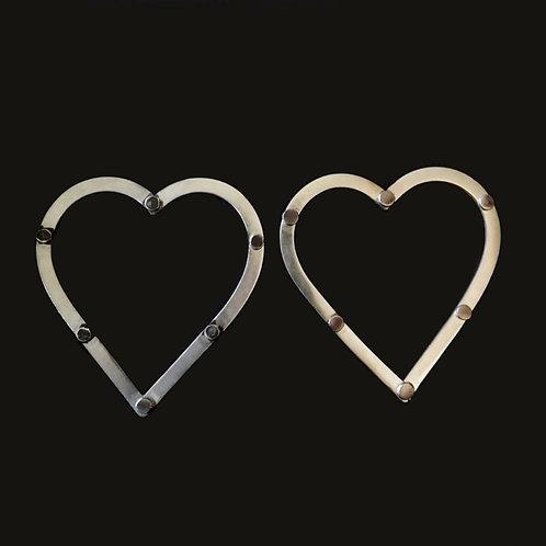 Aros corazones silver
