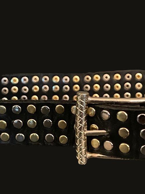 Cinturón bicolor hebilla simple