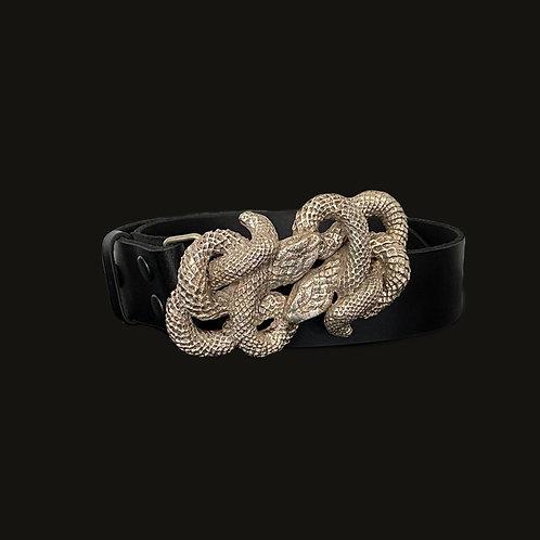 Cinturón doble culebra  XL silver