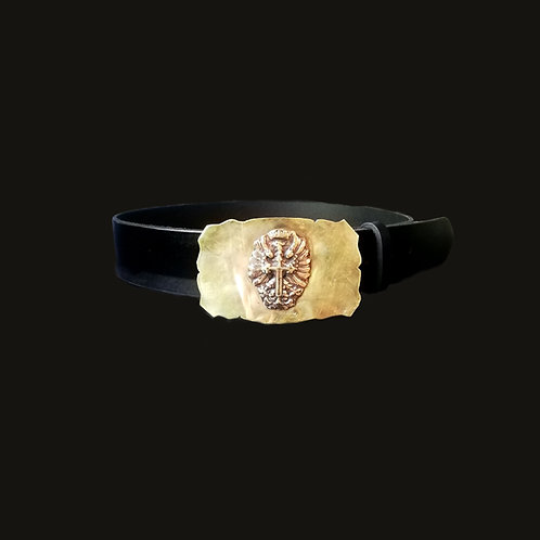 Cinturón liso hebilla Aguila de San Júan bronce