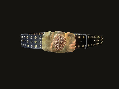 Cinturón Cruz de San Juan Bronce Tachas Bicolor