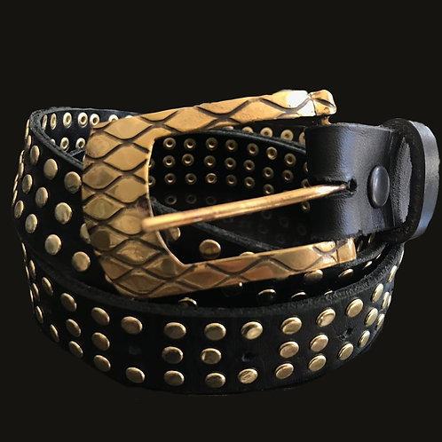 Cinturón negro tachas bicolor hebilla bronce