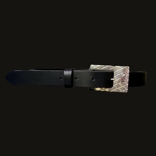 Cinturón liso  3 cms ancho hebilla estrella  S