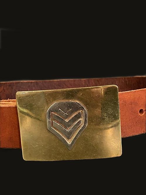 Cinturón hebilla militar bronce