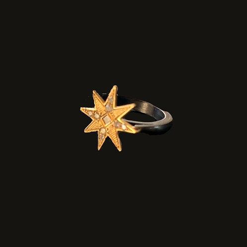 Anillo Estrella Gold/ Black Silver