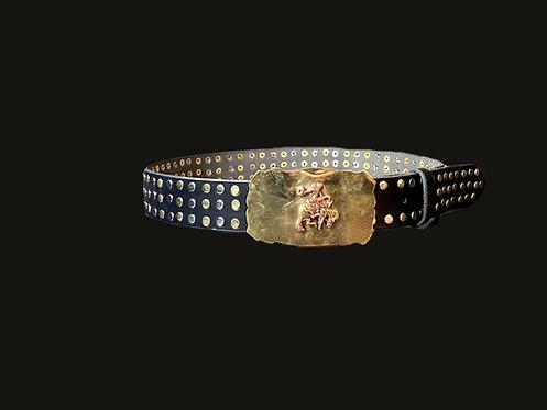Cinturón gaucho bronce tachas bicolor