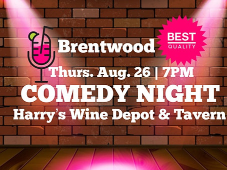 Comedians from Conan, HBO, Comedy Central, and Netflix! Join us at the beautiful Harry's Wine Depot