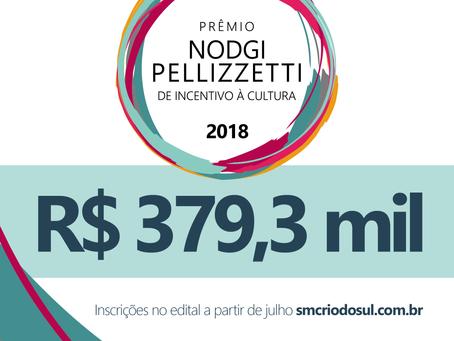 Prêmio Nodgi Pellizzetti de Incentivo à Cultura 2018 terá o valor de R$ 379,3 mil