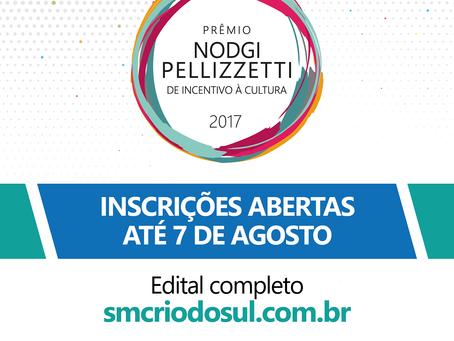 Abertas as inscrições para o Prêmio Nodgi Pellizzetti de Incentivo à Cultura